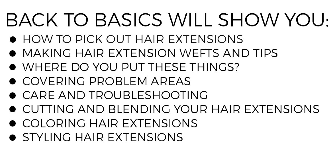 Topics list for Extension Basics: Cutting, Blending, Troubleshooting, Coloring, Styling for Hair Extensions