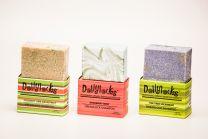 Three Dollylocks Organic Dread Shampoo Bars on white background