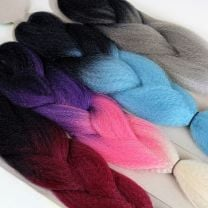 RastAfri Kanekalon Ombre Jumbo Braid in black to red ombre, black purple pink blonde ombre, black to blue ombre, and black to silver ombre