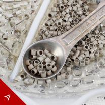 2mm linkies microring beads ash blonde in a vintage metal teaspoon