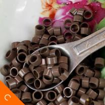 5.5mm linkies microring beads for prebond hair light brown color in vintage metal teaspoon