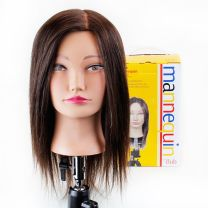 Maggie human hair mannequin head on stand with Product Club box behind