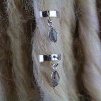 Close up of 10mm Sterling Silver Labradorite stone Dreadlock Cuffs