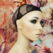Adjustable strap weave cap shown from the side on mannequin with floral background