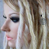 Silver metal Tree of Life celtic charm dread cuff on model with blonde dreadlocks