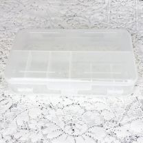 Closed clear plastic 10 compartment hair stylist kit container